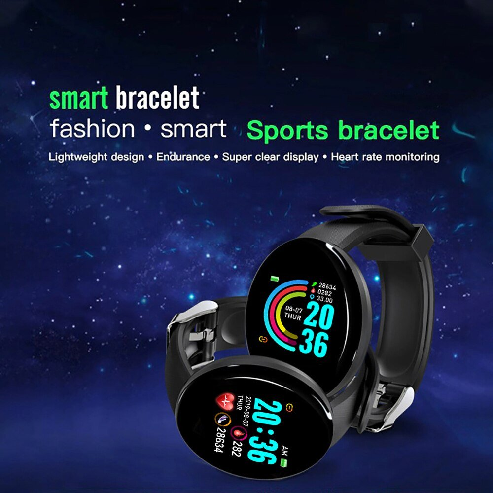 D18 Sport Smart Watch Bluetooth Smart Band Fitness Tracker Heart Rate Monitor Blood Pressure D18 Smartwatch  for Android IOS