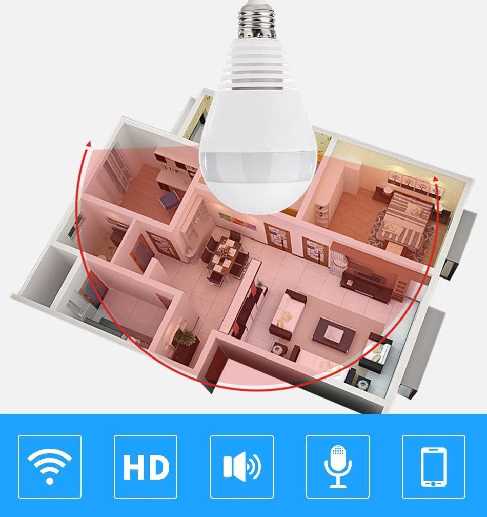 V380 360 Camera IP WiFi Camera 360 Degree Panoramic Bulb Light Fisheye CCTV Surveillance Camera Smart Home Security camara wifi
