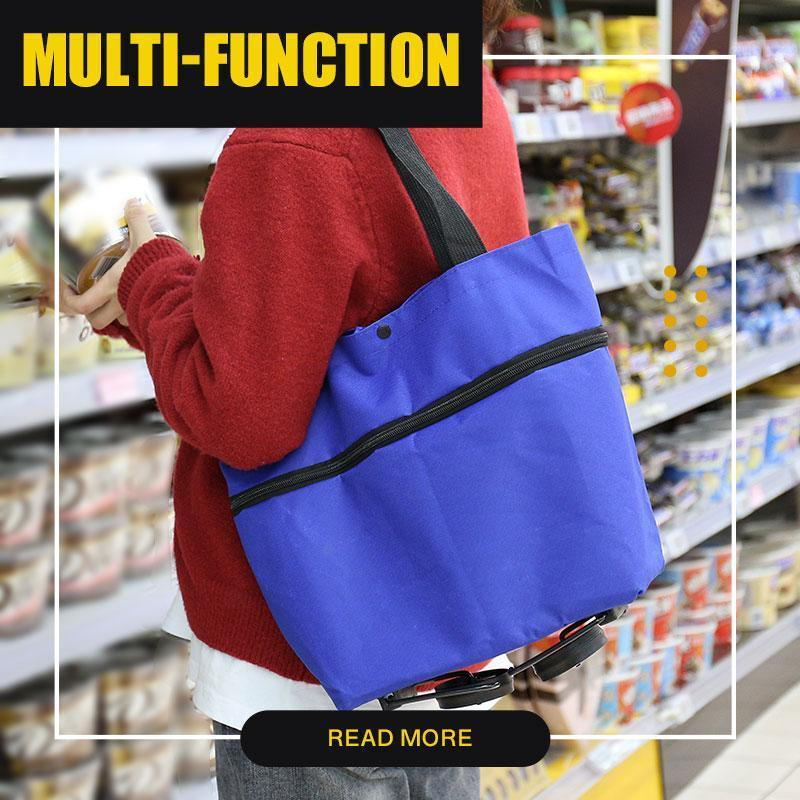 2 In 1 Foldable Shopping Cart Reusable Foldable Shopping Trolley Tote Bag With Wheels Food Vegetable Organizer Shoulder Bag
